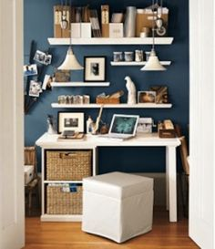 """I like how this looks, but if it is going to be a """"desk"""" for homework, there can't be a lot of things on it...I like the shelves hanging above."""