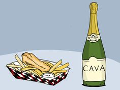An odd pairing that is such a delight!  Cava + Fish and Chips http://winefolly.com/tutorial/yes-to-pairing-champagne-with-the-main-course/