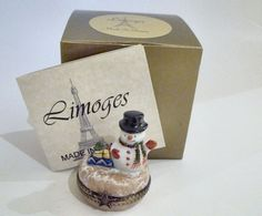 Limoges Box - Snowman In Black Top Hat with Gifts