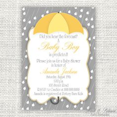 Printable Rain Baby or Bridal Shower Invitation by HankandPetunia, $10.00