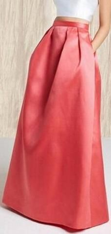 Satin Pleat Ball-Gown Skirt, Watermelon Red