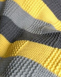 Crochet Baby Afghan - Yellow = White, Dk Grey = Purple and Lt Grey = Blue - And…