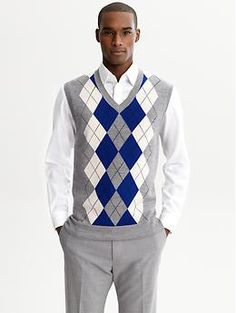 Ten West Big Mens Cardigan Pocket Argyle Sweater Vest Size 2xl
