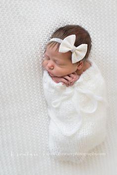 Newborn Baby Girl...All white newborn photography...Newborn Swaddle Pose {B Couture Photography}