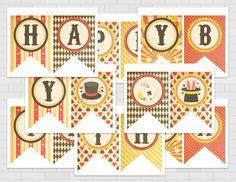 Happy Birthday Banner Vintage Magic Theme by PrintAndPartyDesigns