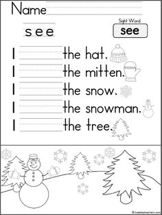 """Free December Book for Kindergarten Practice reading the words """"I can see the…"""" There are 10 pages in this December mini book. You can print and use all the pages or just the one…"""