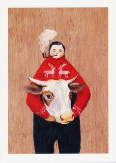 Fine art print -- Man and Cow by SandraEterovic on Etsy