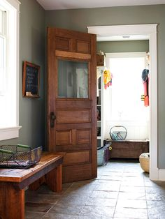 I would LOVE to have stained wood interior doors like this.  The medium brown stain is the perfect color.