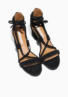 609104cfc642ea  amp  Other Stories image 2 of Suede Lace Up Sandalette in Black Boots  Online