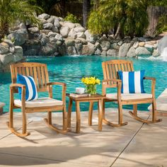 Shop Lucca Outdoor Acacia Wood 3-piece Rocking Chair Set with Cushion by Christopher Knight Home - Free Shipping Today - Overstock - 12075230