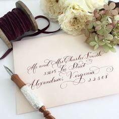 Beautiful Burgundy Ink on Pale Pink Envelopes | #weddingcalligraphy #weddingdetails #smpwedding #Envelopeaddressing #envelopes #palepink #burgundyink #invitations #weddinginvitations #moderncalligraphy
