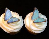 Blue and Teal Butterfly Cupcake Toppers - 26 Edible Cupcake Toppers - Edible Wafer Paper Sparkle Dusted