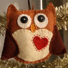 Cute Woodland Owl Stitched Felt Christmas Ornament. $11.99, via Etsy.