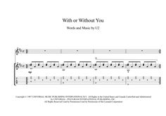With Or Without You guitar sheet music With or Without You, is a song by the Irish rock band U2. The song was the group's most successful single at the time, becoming their first number one hit in both the United States and Canada.  Here is an arrangement for calssical guitar solo with downloadable mp3 for audio help, with tablature, lyrics.