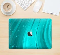 "The Glowing Teal Abstract Waves Skin Kit for the 12"" Apple MacBook"