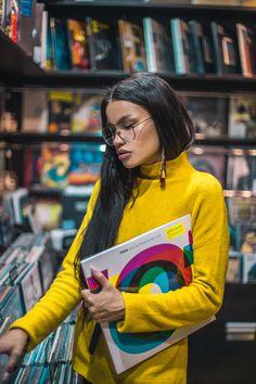 Photoshoot in vinyl record shop #glasses #recordingstudio #girl #records #valerialokinskaya #reading #cute #bookaholic #vinyl #vinylrecords #girl #style #musicstudio #perfection