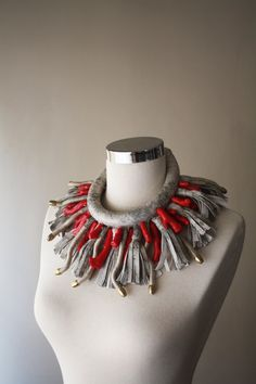 GORGONIAN   Statement Jewelry Oversized Leather and by elifus