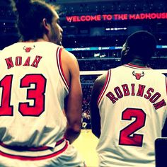 @JoakimNoah and @nate_robinson wait at the scorer's table to join the game. #ready