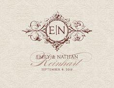 Monogramma di nozze personalizzato logo di RoseBonBonShop su Etsy