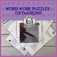These no prep Word Work Activities are great for middle school students to practise finding the oxymorons in 20 Puzzles. Worksheets, answers and a set of the activities to laminate and put on to cards are all included. Figure Of Speech, Word Work Activities, Thematic Units, Upper Elementary, Literacy Centers, Critical Thinking, Homeschooling, Middle School, Puzzles