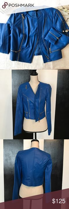 BEBE Electric Blue Moto Jacket So cute, but never got around to wearing it!  Size small. Cute with blue shades! bebe Jackets & Coats