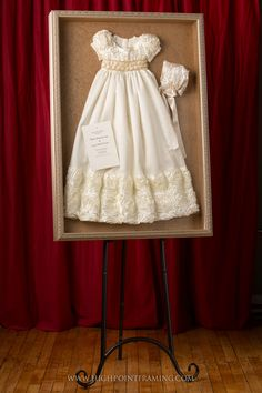 Beautiful Christening Dresses — High Point Framing and Art Gallery Christening Outfit, Baptism Dress, Christening Gowns, Antique Decor, Vintage Decor, Vintage Linen, Christening Frames, Shadow Box Memory, Blessing Dress