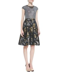 T8C46 Rickie Freeman for Teri Jon Cap-Sleeve Floral-Skirt Cocktail Dress
