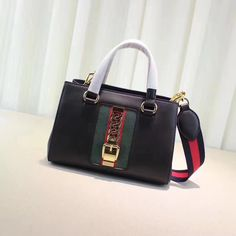 b90af890422 Gucci woman sylvie top handle tote bag with canvas strap original leather  version small size