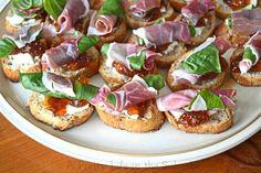 Prosciutto, Basil, Fig Jam & Goat Cheese Crostinis