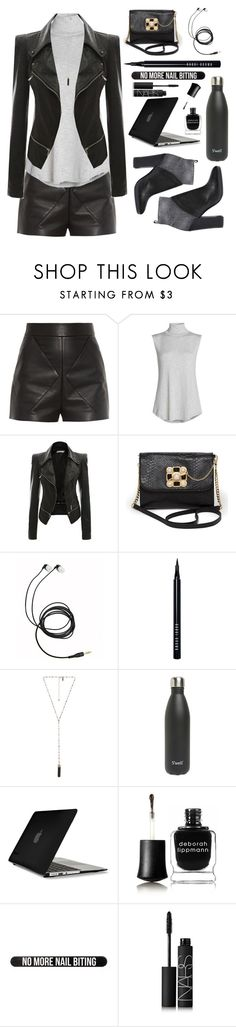 """Actions Speak Louder Than Words"" by natalieyaeger ❤ liked on Polyvore featuring Balenciaga, NIC+ZOE, Bebe, Bobbi Brown Cosmetics, Natalie B, S'well, Speck, Deborah Lippmann, Bershka and NARS Cosmetics"