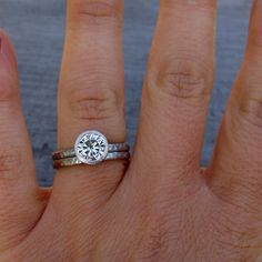 Vintage Diamond Wheat Engraved Engagement Ring in 14k White Gold
