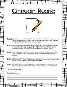 Cinquain Poetry Template and Rubric: Creative Writing Form |