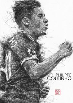 Liverpool Football Club, Live Life Red!-Philippe Coutinho ‪#‎Liverpool‬ ‪#‎TheKopArtsStudio‬.