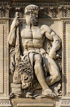 Bas-relief sculpture, Hercules, West façade of the cour Carrée at the Louvre, Paris, by Philippe-Laurent Roland, 1806.