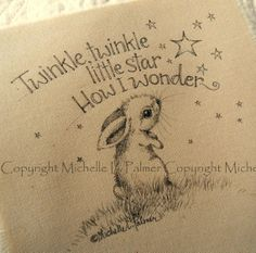 Original Pen Ink Fabric Illustration Quilt Label by Michelle Palmer Baby Bunny Rabbit Twinkle Twinkle Star