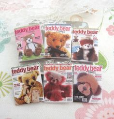 dollhouse teddy bear magazines x 6  miniature by Rainbowminiatures