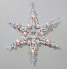 Snowflake Ornament Pink Pearl and White AB by SnowflakeStudio59