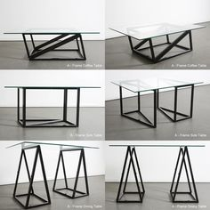 A-Frame Table by Chris Duffy, a clever combination of two interlocking A-shaped supports that, depending on assembly and orientation, present the glass tabletop at various heights.