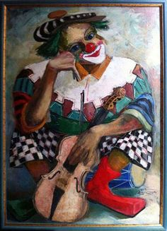 "Бурдин Тимур    ""Картина Клоун виртуоз"" Emmett Kelly Clown, Mime, Clown Paintings, Le Clown, Vintage Clown, Send In The Clowns, Pierrot, Character, Models"