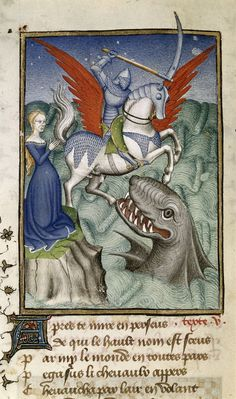 blancefleur:  A dose of medieval manuscript Halloween horror - battling monsters in miniatures! Miniature of Andromeda being rescued from a ...