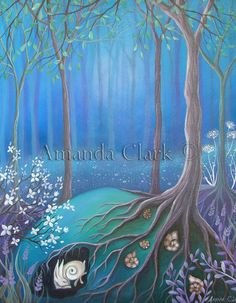 A fairytale art print titled 'Sleeping' by earthangelsarts