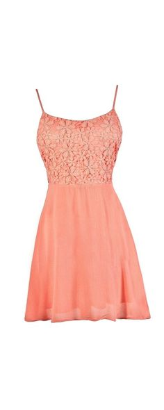 Crochet Lace Tie Back A-Line Dress in Coral Pink  www.lilyboutique.com