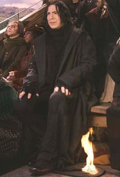 Alan Rickman just had to sit there while they lit him on fire.