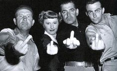 """(L to R:) Lew Smith, Barbara Stanwyck, Clark Gable, and Bill Hickman """"…while reading johnnie parsons book i came across this photo. and here's the story behind it… The MGM movie crew, including. Hollywood Stars, Classic Hollywood, Old Hollywood, Hollywood Glamour, Barbara Stanwyck, Fritz Lang, Woman Movie, Star Wars, Clark Gable"""