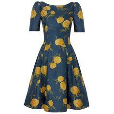 Fifties Oriental Bloom Silk Print Dress found on Polyvore