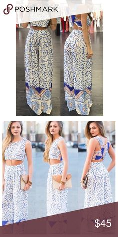 Pants sets From Latiste. Long wide pants high waist. Model on t 1st pic is 5'6 Latiste Pants Wide Leg