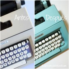 Vintage typewriter makeover with Pinty Plus pale turquoise spray paint