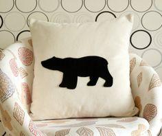 Black Bear Silhouette pillow cover - Decorative Pillow cover - Natural Cream - Natural Fabric - Felt Applique - Home -  18x18 - living room