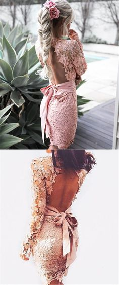 2017 homecoming dress, short homecoming dress, pink homecoming dress, lace homecoming dress, long sleeves homecoming dress