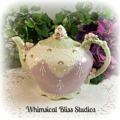 Whimsical Bliss Studios - Sweet Little Teapot in lavender & green